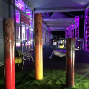 Just before the opening night at AAF Battersea. The 3 shells on the main concourse.