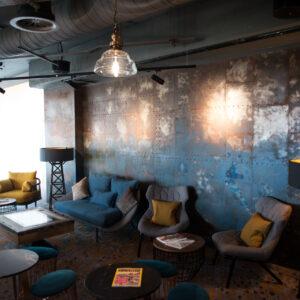 Upstairs coffee bar, Novotel Canary Wharf, London 2016/7 oil paint on steel