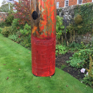 """Part of the installation at the """"Almonry Gardens, Battle"""" during October 2017 3rd of 3 steel shells each weighing 34kg and measuring 2m in height with a diameter of 70cm. Made using Arabica Coffee, plaster and oils."""